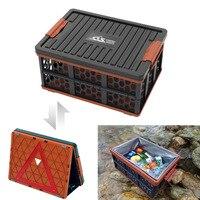 Plastic Outdoor Folding Storage Box, Large Car Trunk Basket, Camping Bucket, Waterproof Fishing Tank, Simplified Warning Board