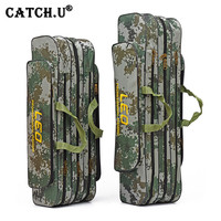 Portable Folding Fishing Rod Bag Carrier Canvas Fishing Lure Pole Tools Backpack Case Fishing Real Gear