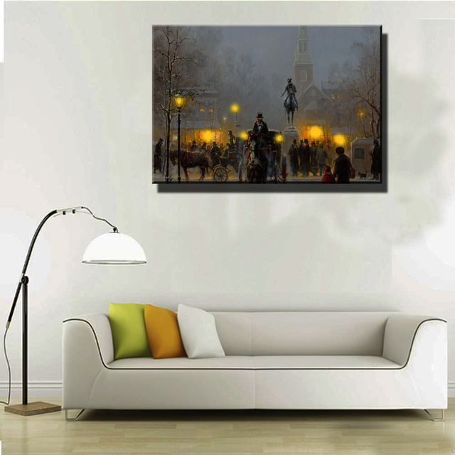 Wall Art With Lights canvas wall art with led lights up carriage on street of city at