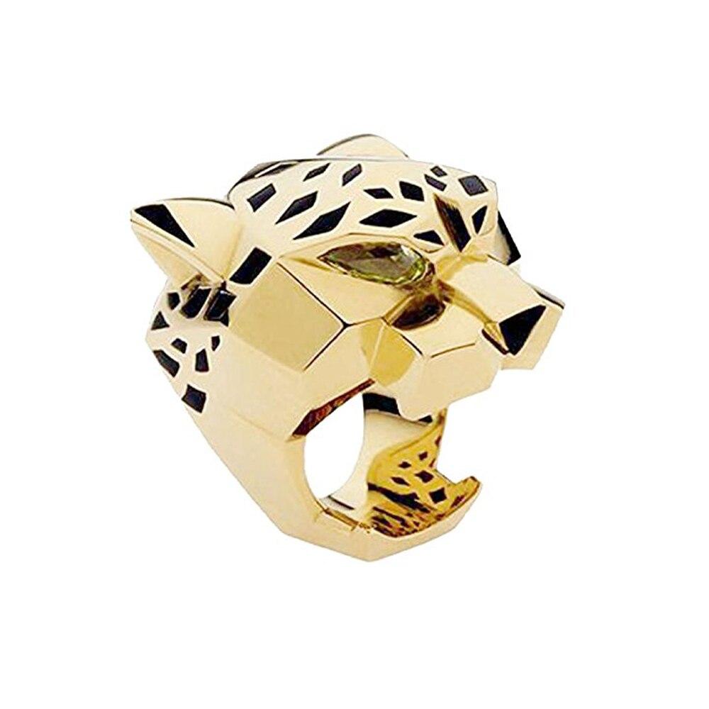 Moda qualidade chapeamento de ouro leopardo homem mulher cocktail anel de declaração verde zircão olhos