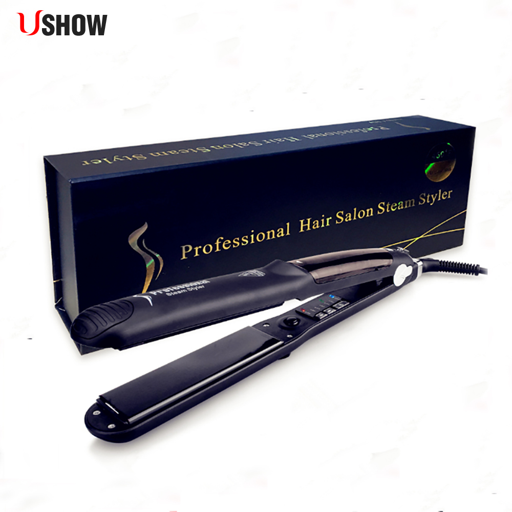 USHOW Hair Steam Flat Iron Tourmaline Ceramic Vapor Professional Hair Straightener Hair Straightening Iron 450F for apple watch series 4 wrist bracelet luxury metal mechanical chain watch band strap for apple watch series 1 2 3 38mm 42mm