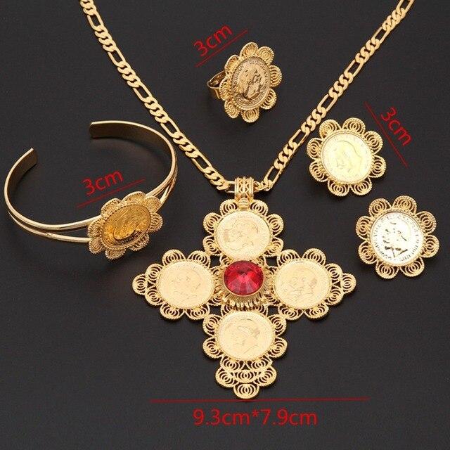 Big Ethiopian Wedding crystal bridal Jewelry sets Gold Ethnic