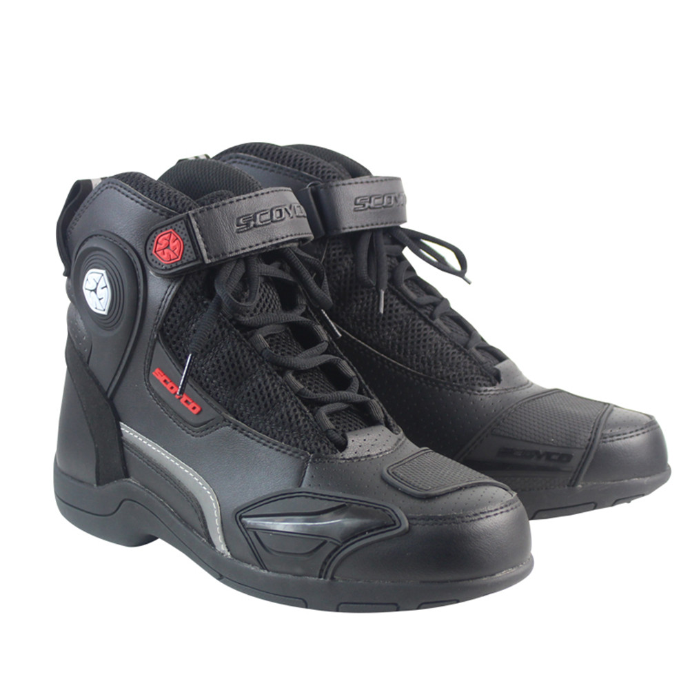 SCOYCO MBT015 Moto Racing Leather Motorcycle Boots Shoes Motorbike Riding Sport Road SPEED Professional Botas Men Women Black недорого