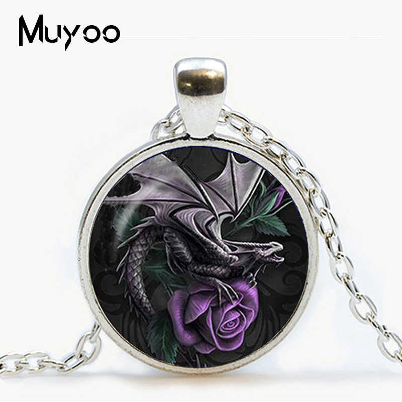 New Wholesale Wing Dragon Art Picture Glass Cabochon Necklace Silver Chain Dragon Pendant Man Woman Jewelry Vintage Gift HZ1