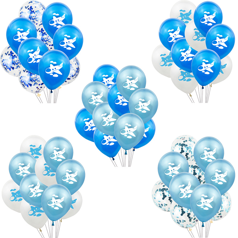 10Pcs 12inch Blue White Airplane Printed Confetti Balloon Inflatable Helium Air Globos Baby Shower Birthday Party Decoration image