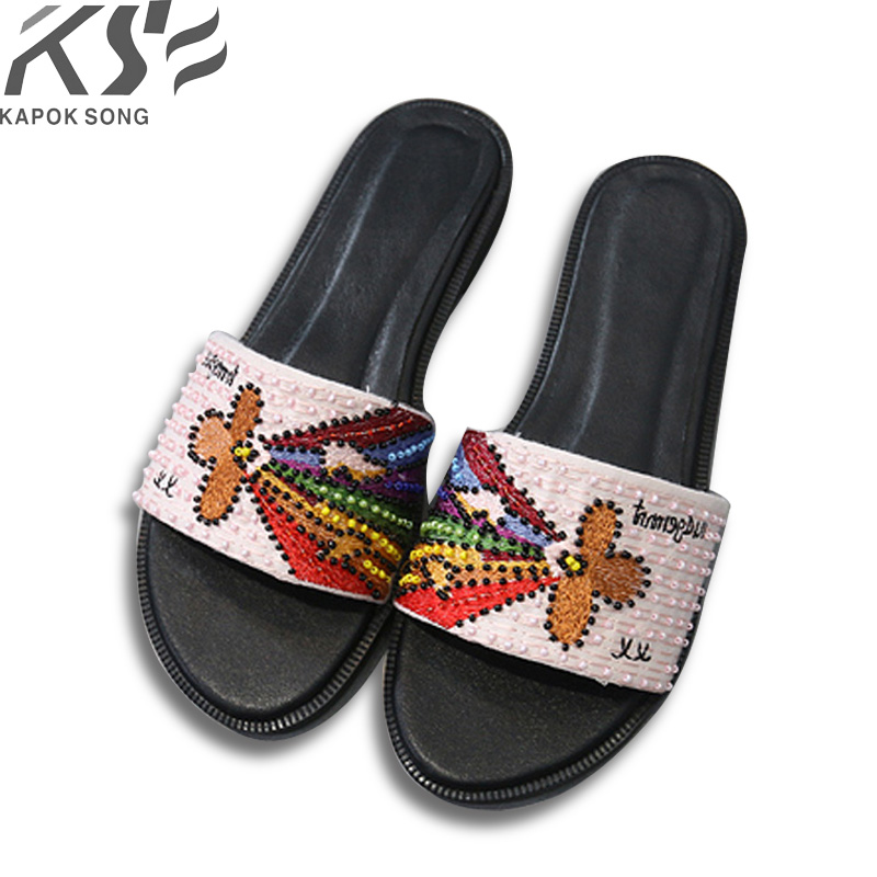 2018 Embroider slide sandals women luxury designer genuine cow really leather lady shoes D flats slippers women fashiona women sneaker cow really leather flats luxury brand designer shoes casual shoes new fashion model confortable shoes lady