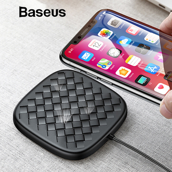 Baseus Luxury Grid Pattern Wireless Charger Ultra Thin TPU QI Wireless Charger 10W Fast Wireless Charging Pad For iPhone Samsung