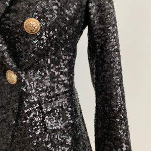 Image 5 - Alta calle elegante 2020 chaqueta Runway mujer doble botonadura Metal botones de León lentejuelas brillante chaqueta
