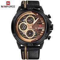 Naviforce Luxury Brand Sport Leather Quartz Watch Men Leather Fashion Man Casual Waterproof Military Watches Relogio