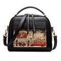 Women Bag Handbag PU Leather Women Leather Handbag Casual Oil Picture Pattern Women Shoulder Bag Fashion Female Tote ls8235S