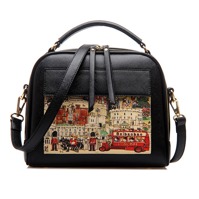 PU Leather Casual Oil Picture Pattern Women Shoulder Bag