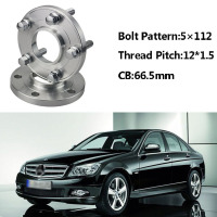 2pcs 5x112 66.5CB Centric Wheel Spacer Hubs M12*1.5 Bolts For Benz C Class W203 W202 A Class W168 E Class W210 W214 SLK