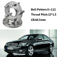 2pcs 5x112 66.5CB Centric Wheel Spacer Hubs M12*1.5 Bolts For Benz C Class W203 W202 A Class W168 E Class W210 W214 SLK