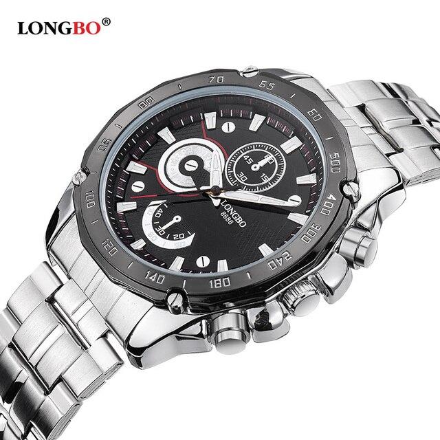 af896a8ff9c Longbo militar relógios esportivos de luxo dos homens de aço inoxidável relógio  de quartzo relógio para