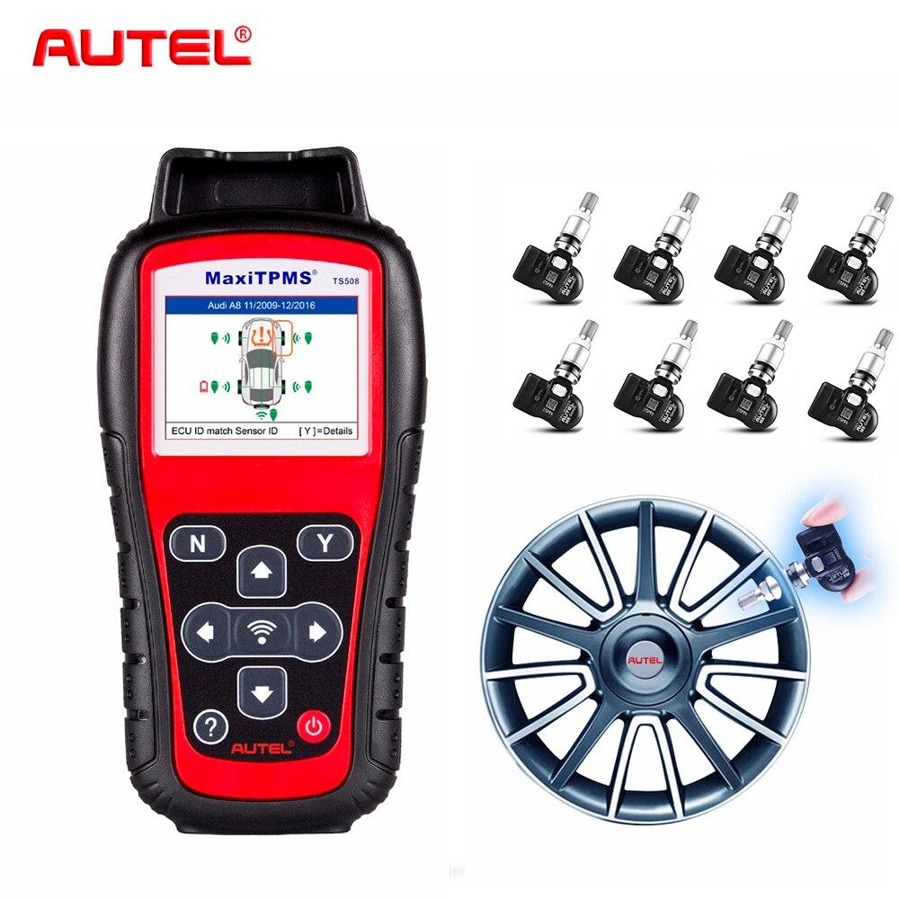 Autel TS508K + 8 pcs 315 mhz Prime de Service TPMS De Voiture Outil De Diagnostic Activer la Pression Des Pneus Capteur Programme ECU T