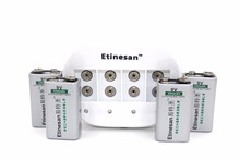 Powerful 4 pcs ETINESAN 9v 550mAh lithium li-ion Rechargeable 9V battery for GPS microphone Battery + 4 slots 9v li-ion charger