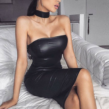 2019 Autumn new womens PU leather dress sexy back zipper backless word shoulder wrapped chest club party black