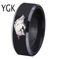 Free Shipping Customs Engraving Ring Hot Sales 8MM Black With Shiny Edges Razorbacks Design Men S