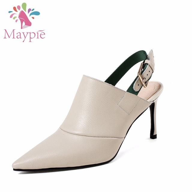 MAYPIE 2018 New Arrival Genuine Leather High Heel Shoes Ladies 8CM Pointed  Toe pumps Fashion Buckle d90396f3516b