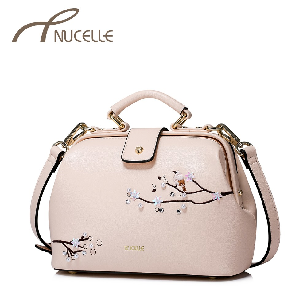 NUCELLE Women's Leather Handbag Ladies Fashion Embroidery Messenger Tote Purse Female Leisure Doctor Pink Shoulder Bags NZ41029