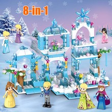 Anna Elsa Mermaid Building Blocks Princess Queen Sparking Ice Castle Bricks Toy For Girl Compatible All