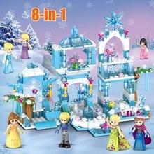 Anna Elsa Mermaid Building Blocks Princess Queen Sparking Ice Castle Bricks Toy For Girl Compatible All стоимость
