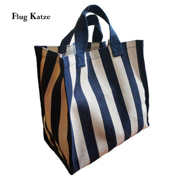 Kobiety plaża na płótnie skrzynki torba moda paski tkaniny torebki damskie bardzo duże torby na ramię na co dzień Bolsa zakupowe torby