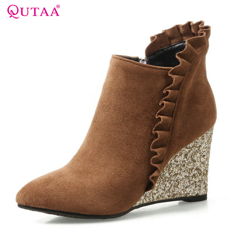 QUTAA 2018 Women Boots Wedges Heel Pointed Toe Women Shoes Spring and Autumn Zipper Fashion Women Ankle Boots Size  34-42 nemaone 2018 women ankle boots square high heel pointed toe zipper fashion all match spring and autumn ladies boots