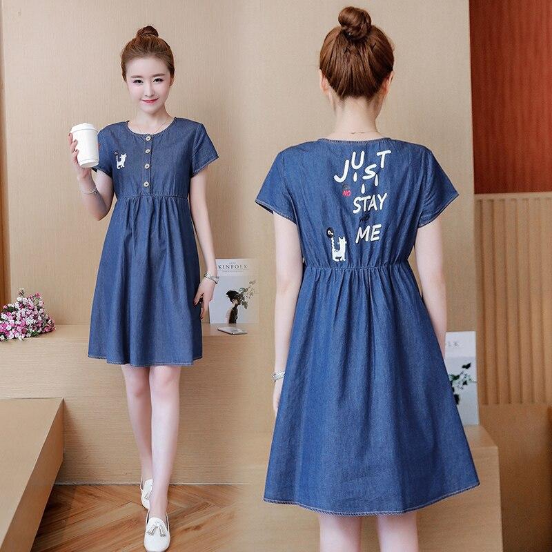 Summer Cartoon Printed Denim Maternity Dress Short Sleeve Top Fashion Clothes for Pregnant Women Sweet Pregnancy Clothing C258