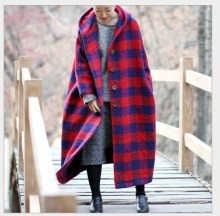 2015 women's winter With  hood plaid sheep wool knitted loose long  design outerwear  woolen cotton-padded  overcoat