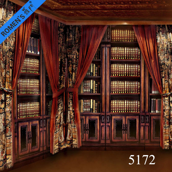 Digital Print Background Studio Indoor Bookshelf