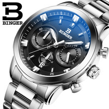 2016 Классический новый Черный циферблат дата наручные часы Из Нержавеющей Стали Швейцария Бингер часы качество Кварцевые часы дружок подарок
