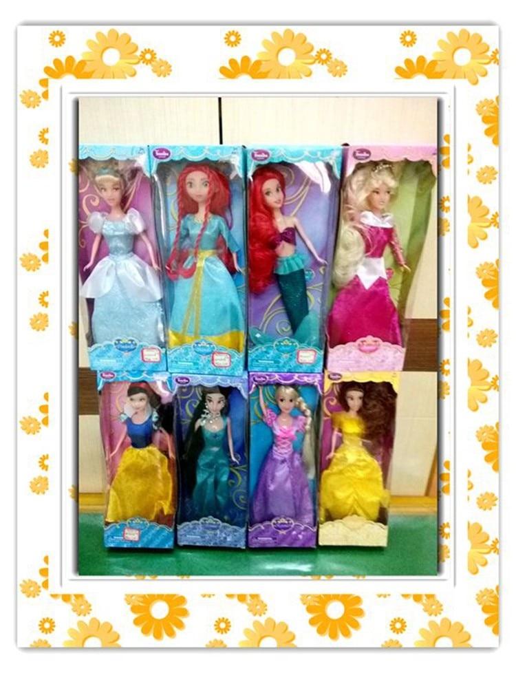 NEW 30CM Popular 10 Princess Snow White Cinderella Aurora Ariel Belle Jasmine Anna Elsa Girl Dolls Plastic For Girls' Gift Toys