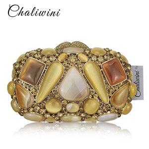 Luksusowe torebki wieczorowe złoty kamień naturalny kryształ inkrustowane koktajl ślubu panna młoda sprzęgła torebki bankiet Fashion Party