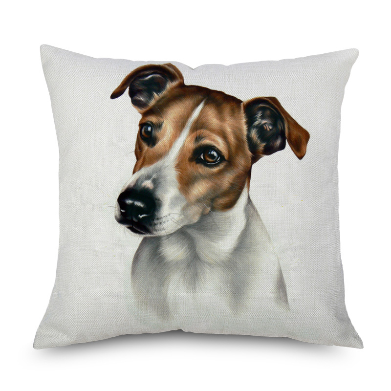 Jack Russell Terrier Cushion Cover Dog Love Dogue De Bordeaux Pomeranian Beige Linen Sofa Throw Pillow Cover Bedroom Decor
