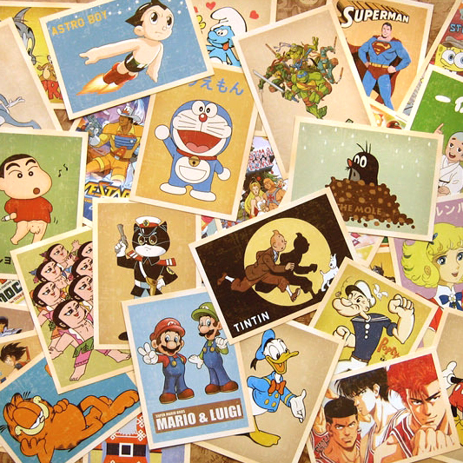 32pcs/set Bookmarks Cartoon Vintage Style Poster Drawing Post Card ...