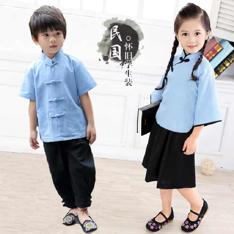 中国の伝統的な子供唐服セット固体ボーイズ Tシャツズボンカンフー衣装チャイナ子供スポーツスーツリネン