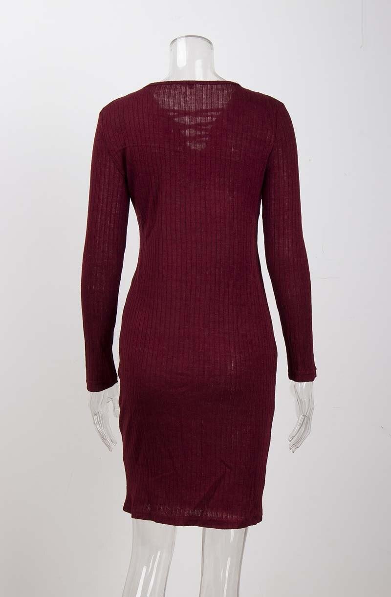 19 Autumn Knitted Dress Women Long Sweater Dress Female Sweaters Ladies Long Sleeve Sweater Winter Bandage Long Sweater Women 15