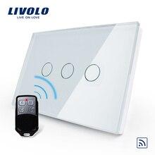 Livolo стандарт США/Австралии, беспроводной переключатель, VL-C303R-81VL-RMT-02, Кристальный Водонепроницаемый стеклянный светильник с сенсорным экраном и мини-пультом дистанционного управления