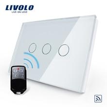Livolo 米国/Au 規格、ワイヤレススイッチ、 VL C303R 81VL RMT 02 、クリスタル防水ガラスタッチスクリーンライトスイッチ & ミニリモート