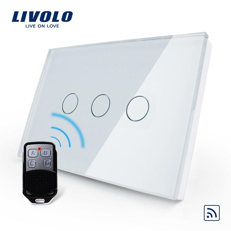 Livolo Padrão EUA/UA, Comutador Sem Fio, VL-C303R-81VL-RMT-02, interruptor de Luz da Tela de Toque de Vidro de cristal À Prova D' Água & Mini Remoto