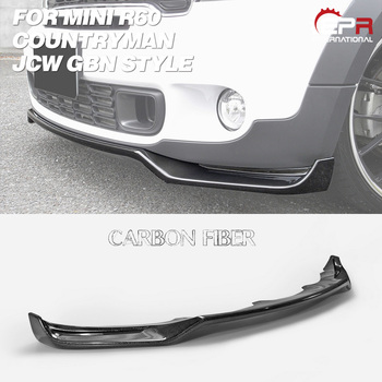 GBN Style Carbon Fiber Front Bumper Lip Glossy Finish Bumper Splitter Tuning Drift Under Spoiler Kit For Mini R60 Countryman JCW