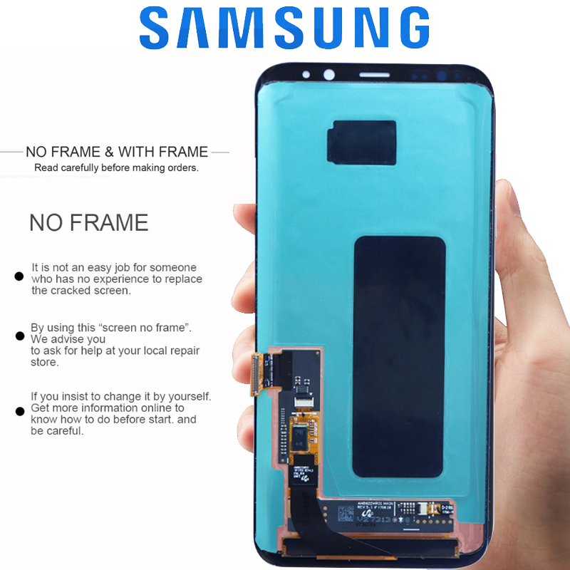 ORIGINAL SUPER AMOLED S8 LCD with Frame for SAMSUNG Galaxy S8 G950 G950F Display S8 Plus G955 G955F Touch Screen Digitizer
