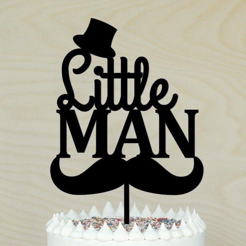 Surprising Acrylic Cake Topper Little Man Cake Topper Baby Shower 1St Birthday Cards Printable Trancafe Filternl