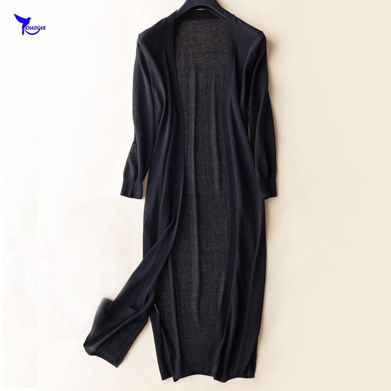 Summer Women Long Cardigan Ice Silk Sun Protection Clothing Tops Three Quarter Sleeve Air Conditioning Shirts Thin Coat Blouse