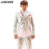 Sequined tuxedo jacket vest pants male jacket blazer outerwear dancer singer dress performance show nightclub slim star suit
