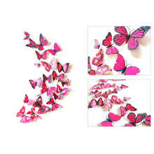 Color 3D Butterfly Wall Sticker 12 Pack Magnet Fridge Stickers  Bedroom Decoration Home Art