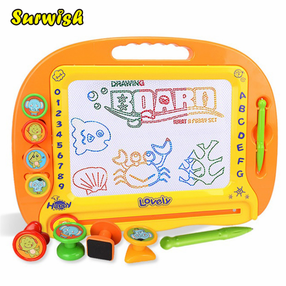 Kids Writing Board Erasable Doodle Painting Toy Plastic Magnetic Drawing Board with 4 Stamps and 1 Pen da0630 lubensi sierra leone 1995 west flow war constantin painting 1 new stamps