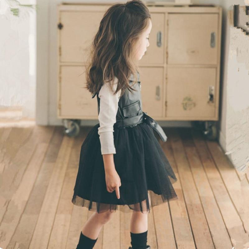 ФОТО 2-10Y,New 2016 Children Autumn Set PU Patchwork Sundress Girls Two-piece Set Kids Dress Basic Shirt Mesh Dress White Shirt