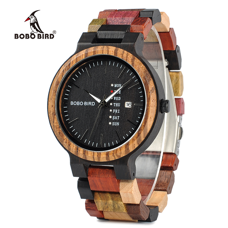 BOBO BIRD Watches Men New Arrivals Bamboo Wooden Show date Wrist Watch Quartz Male Gift in Wood Box erkek kol saati купить недорого в Москве